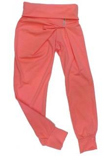 Ženske hlače z okrasno zadrgico-marelične barve