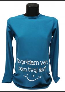 petrolej modra majica z napisom