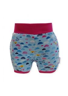 Kratke hlače, morski valovi, modre/roza, 14