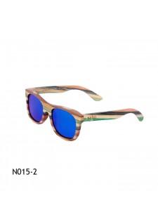 lesena pisana očala z modrimi stekli