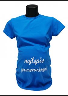 živo modra majica z napisom