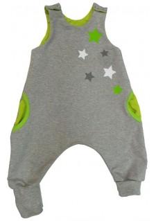 Romperček/pajacek/hlačke brez rokavov siv z zelenimi zvezdicami