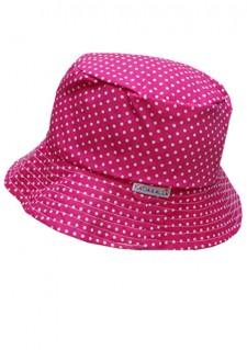 Poletni klobuček - ciklama s pikicami