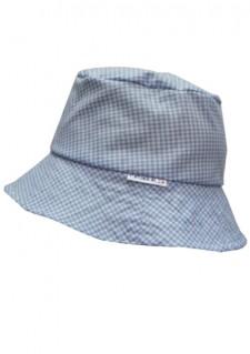 Poletni klobuček - moder karo