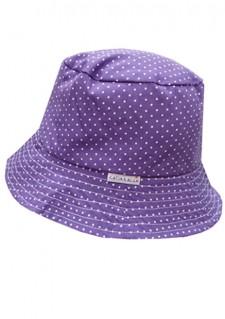 Poletni klobuček - vijoličen s pikicami