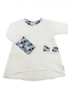 Tunika, bela z modrimi krogci